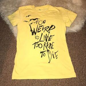 Tops - Hunter s Thompson quote yellow t shirt